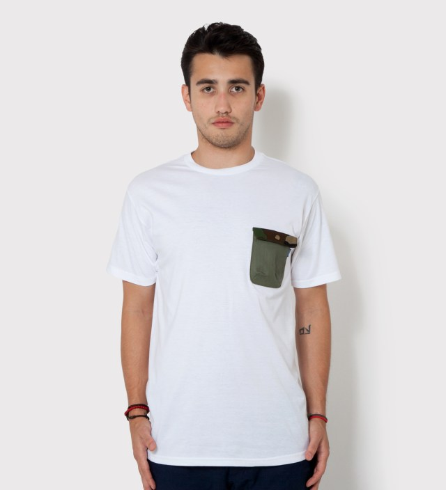 White Olive Drab HBT w/ Woodland Camo Flap Chief Pocket T-Shirt