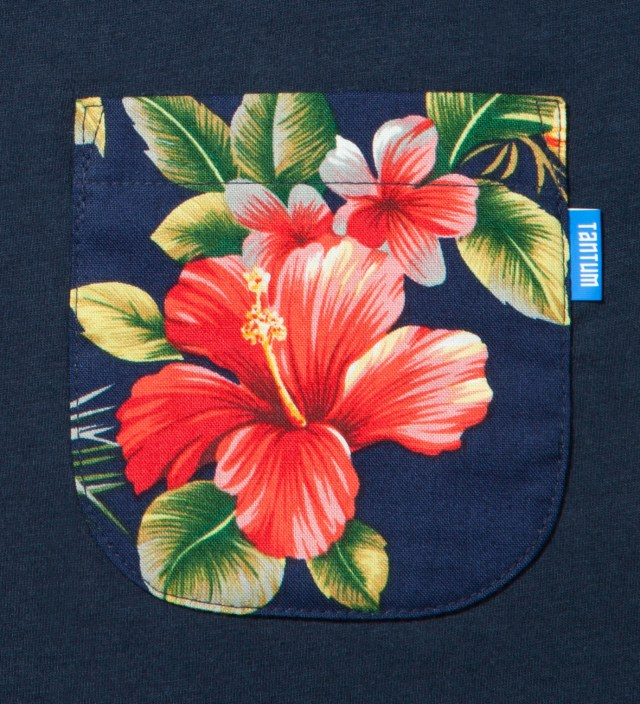 Navy Blue Hawaiian Print Pocket T-Shirt