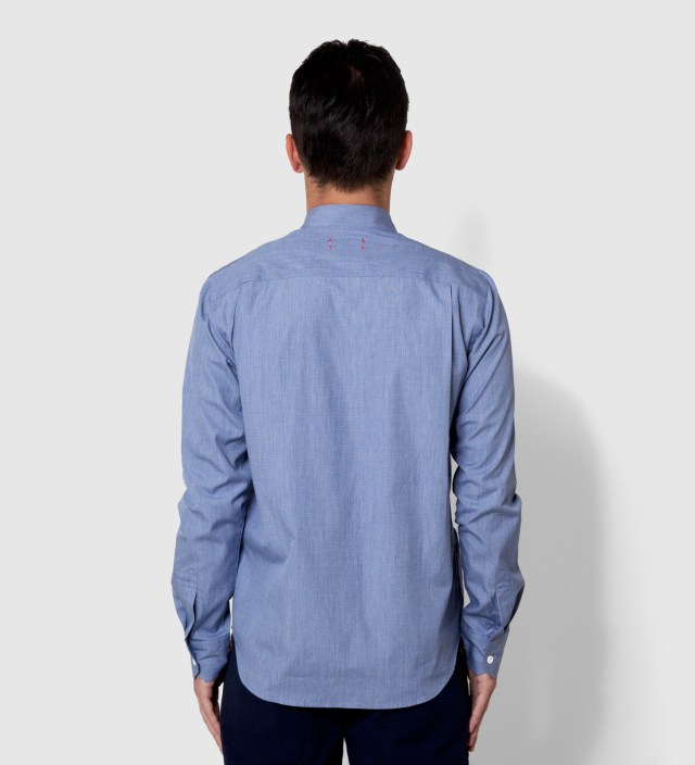 Blue End on End Knit Tape Shirt