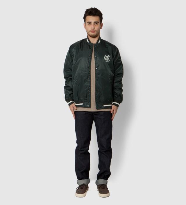 Green Varsity Coach Jacket