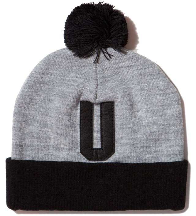 Heather Grey Felt U Pom-Pom Beanie