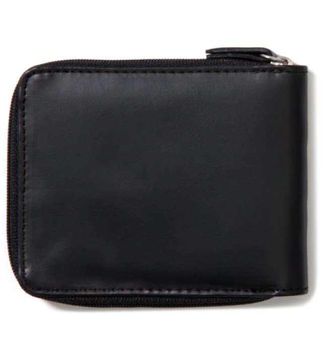 Black Super Solid Zip Wallet