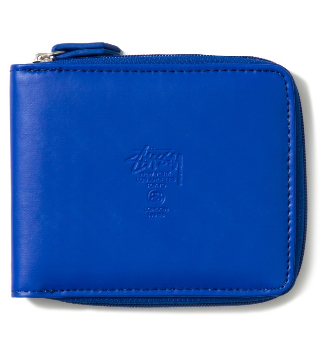 Blue Super Solid Zip Wallet