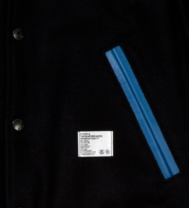 "Stussy x The Heartbreaker Black and Blue ""Rubin"" Varsity Jacket"