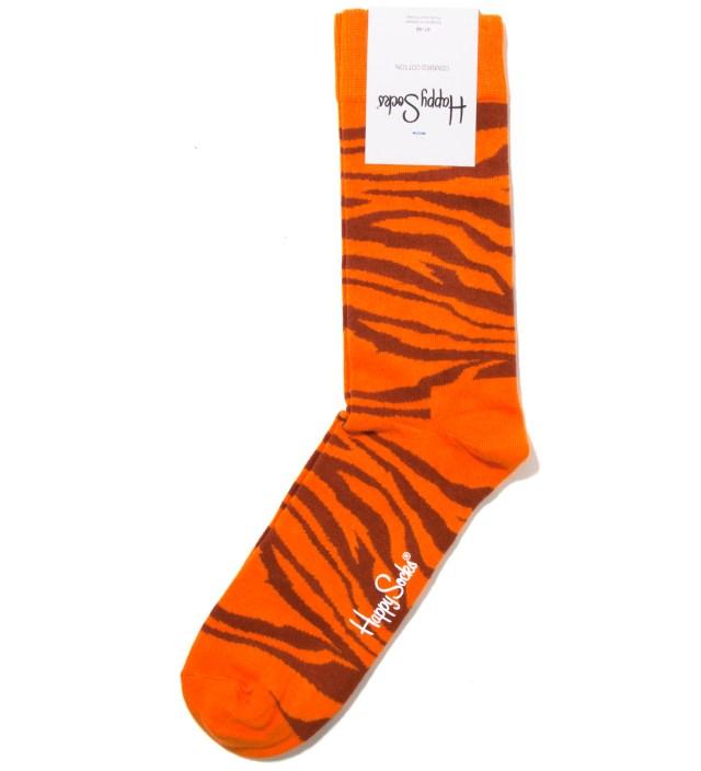 Animal Orange Zebra Sock