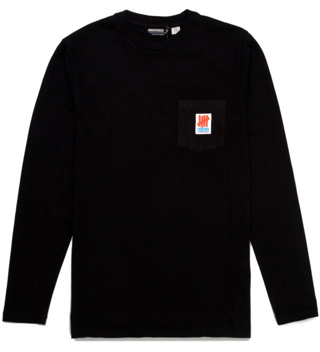 Black Fighting Pocket Long Sleeve T-Shirt
