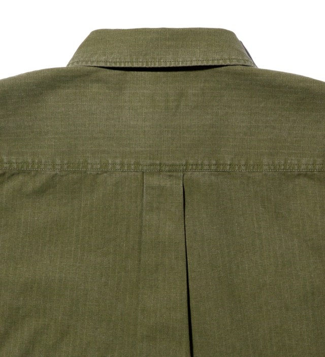 Moss Green Cotton Ripstop Button-Down Shirt
