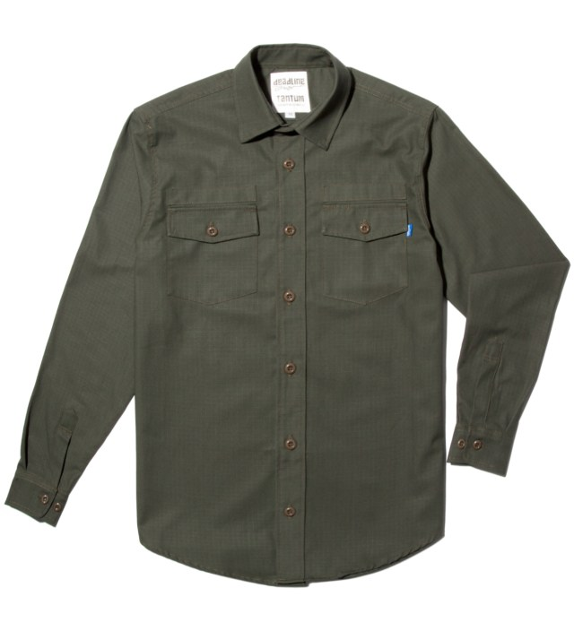 Tantum x Deadline Olive Drab Ripstop Long Sleeve Military Shirt