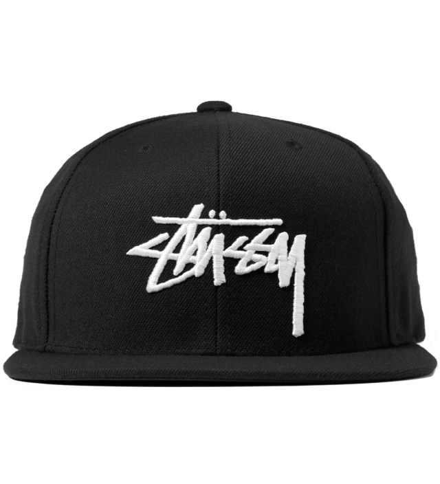 Black Stock Snapback Cap