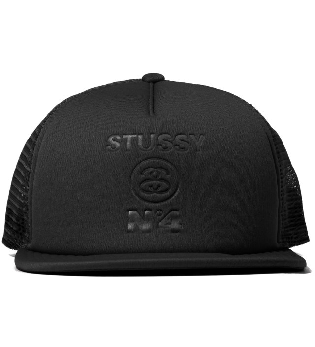 Black No 4 Mesh Snapback Ballcap