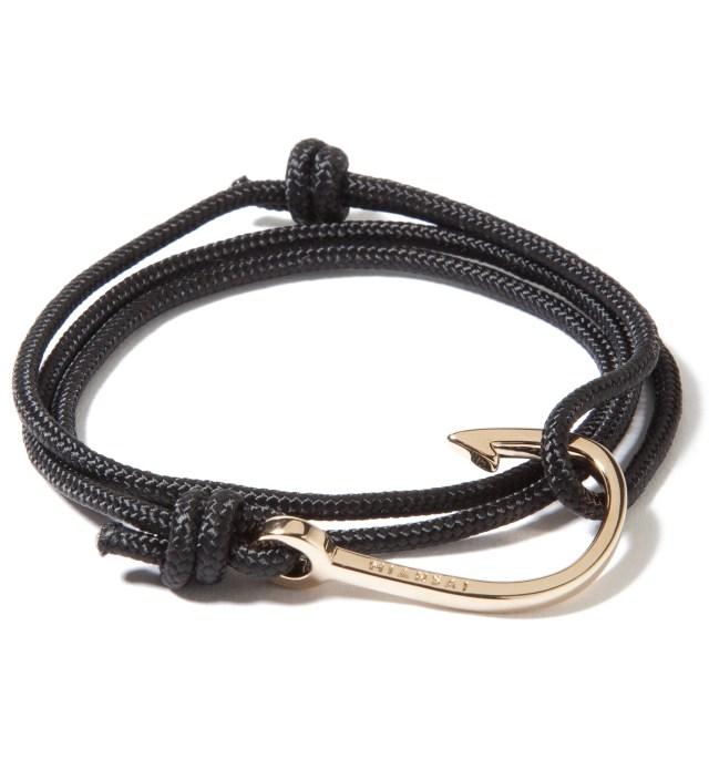 Gold Hook on Black Rope Bracelet