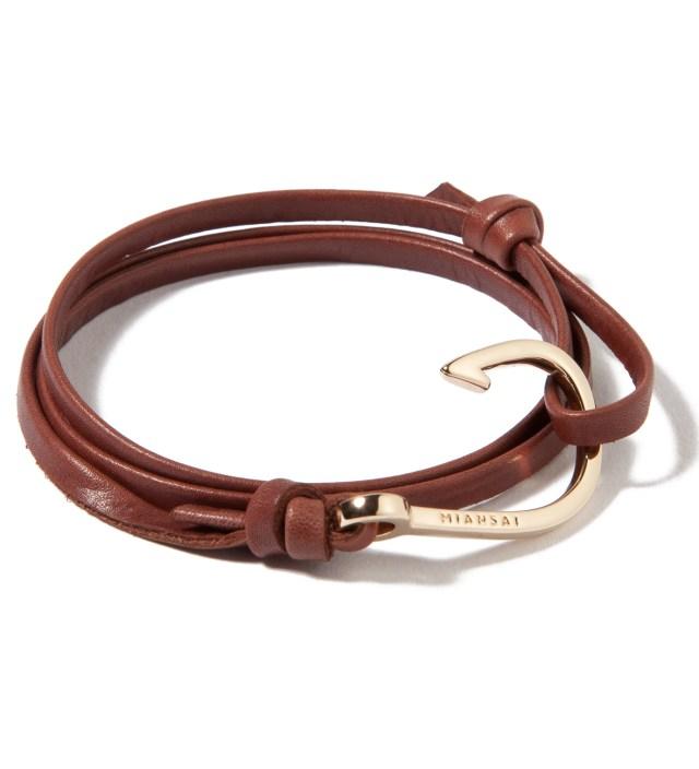 Gold Hook on Brown Leather Bracelet