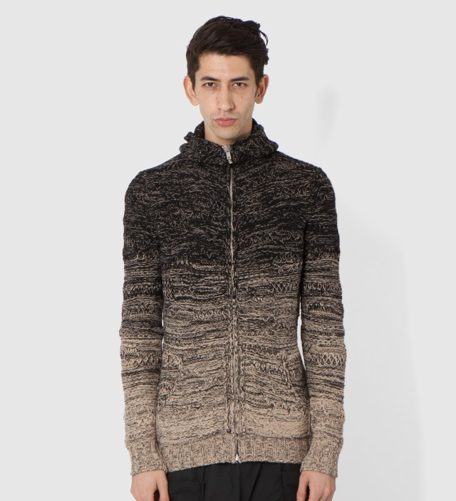Black/Beige Karelia Knit Zip Hoodie