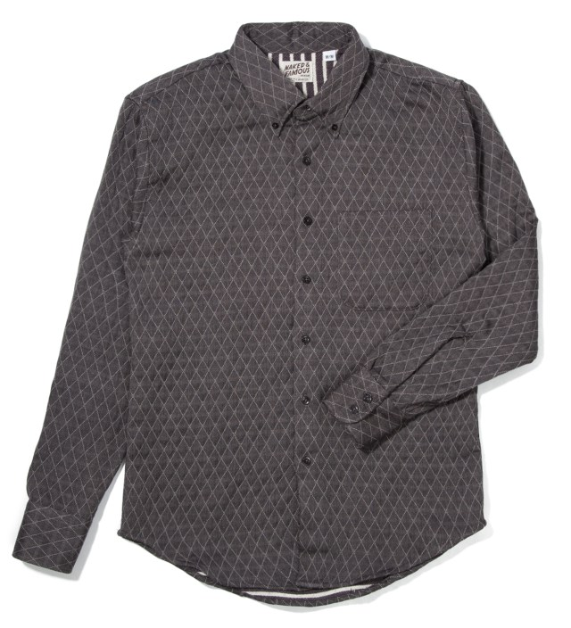 Grey Quilted Doubleface Slim Shirt