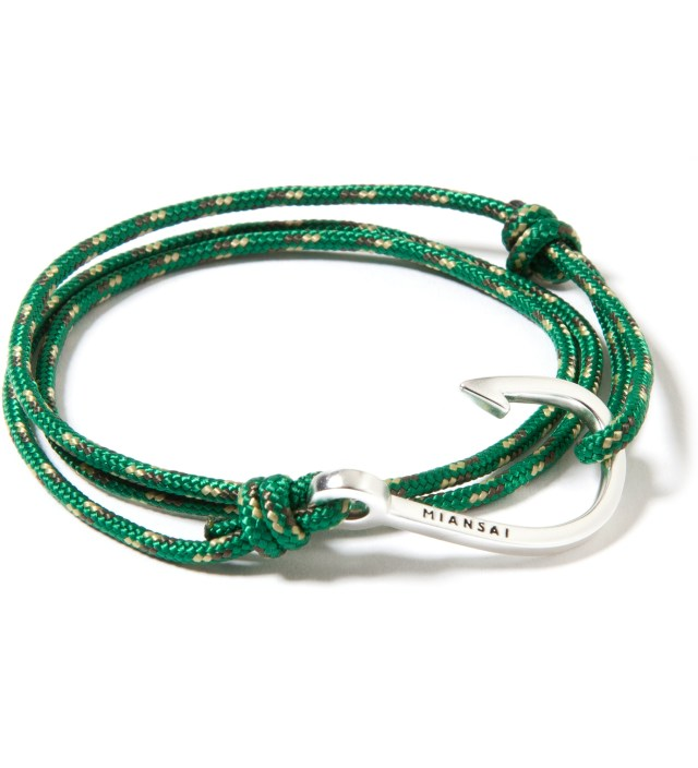 Silver Hook on Green Rope Bracelet