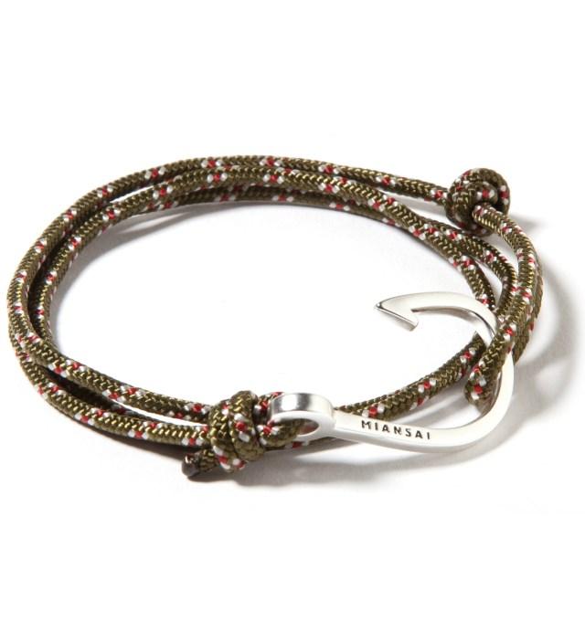 Silver Hook on Olive Rope Bracelet