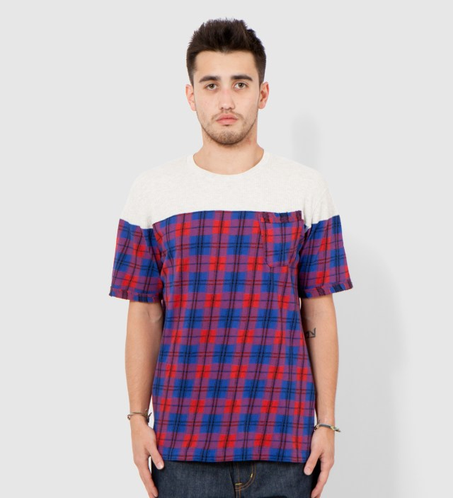 Red Panel Check Short Sleeves T- Shirt