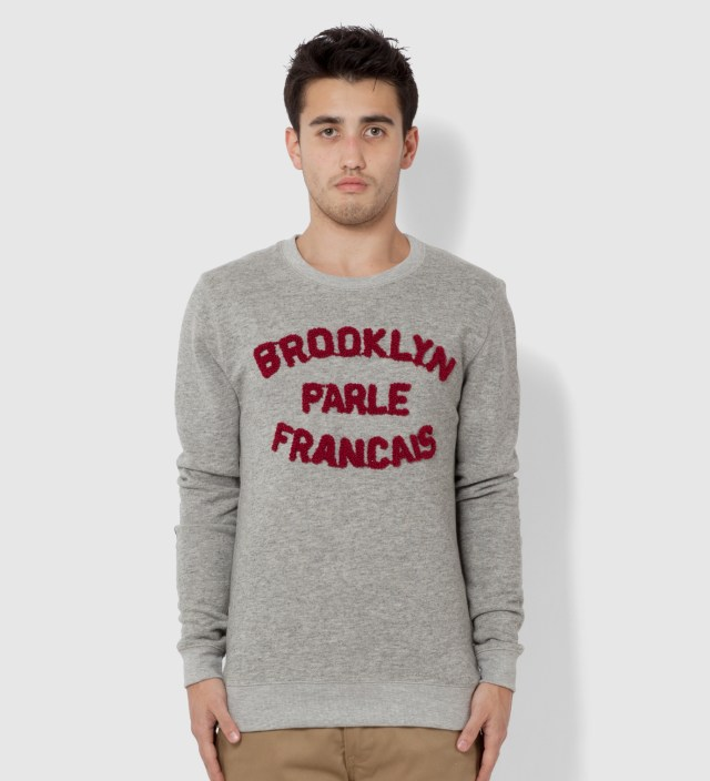 Grey and Burgundy Brooklyn Parle Francais Sweater