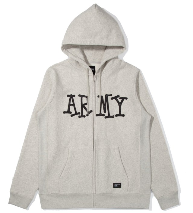 Heather Grey Army Zip Up Hoodie