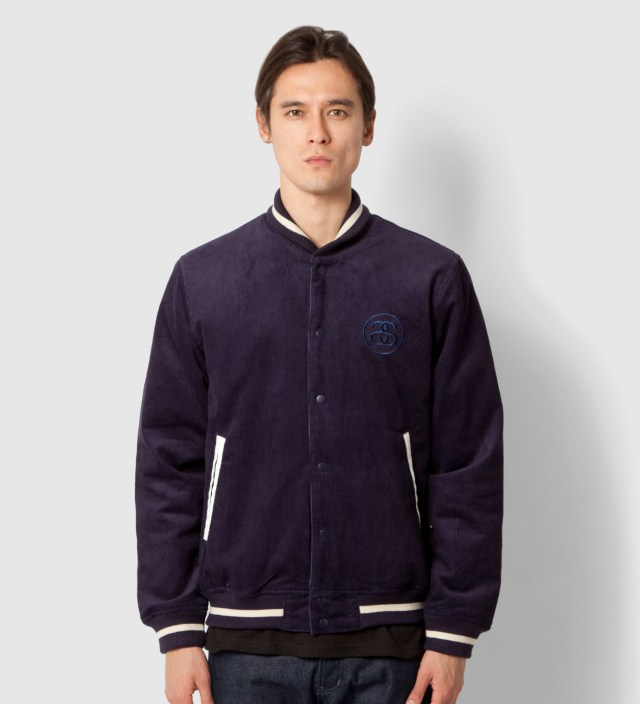 Navy Cord Varsity Jacket