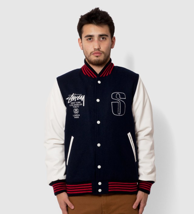 Navy Lettermans Jacket