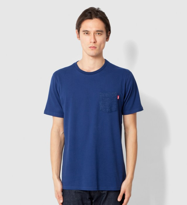 Navy Flannel Pocket T-Shirt