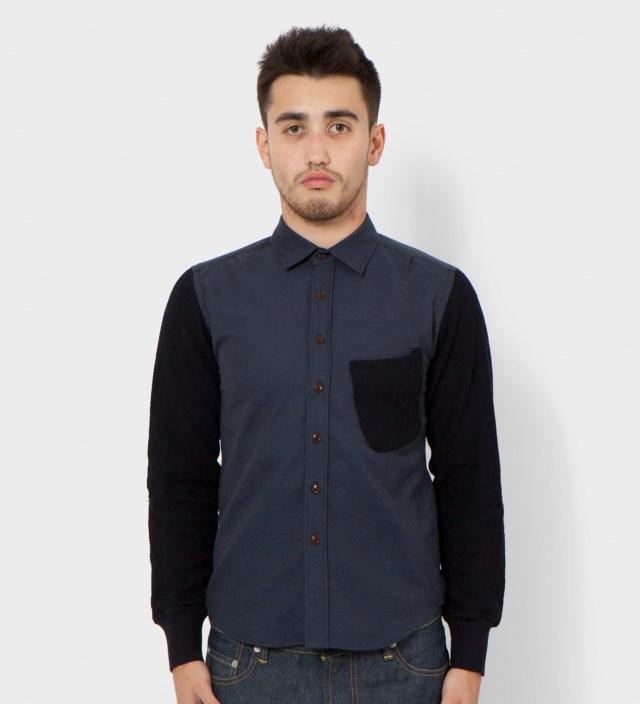 Navy Knit Sleeve Shirt
