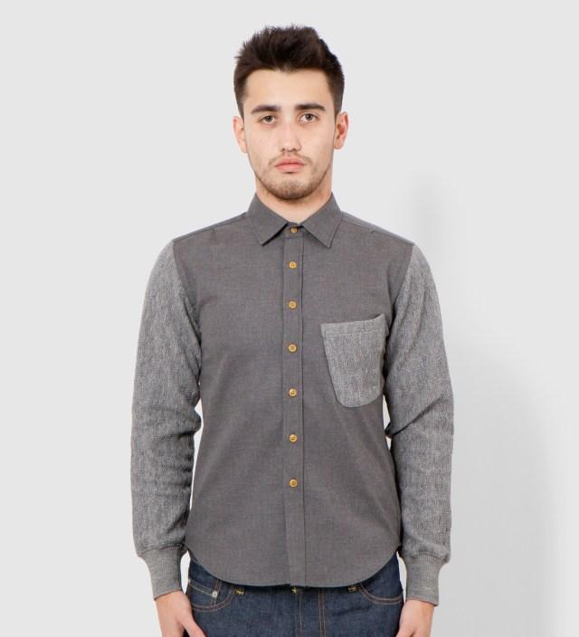Grey Knit Sleeve Shirt