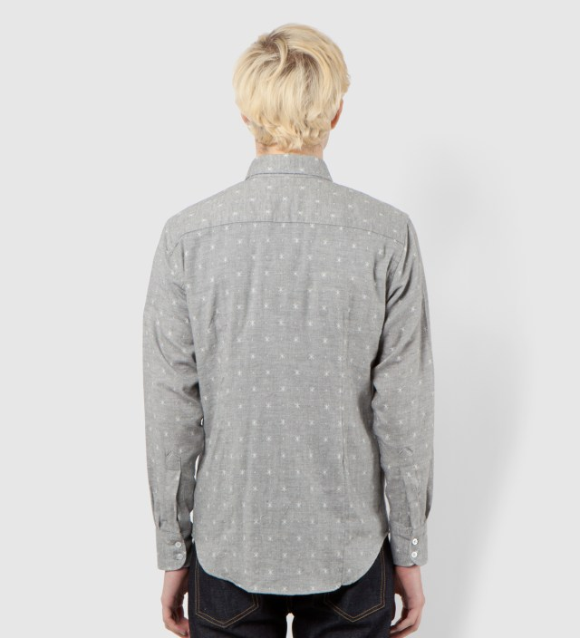 Grey Snow Jacquard Double Weave Slim Shirt
