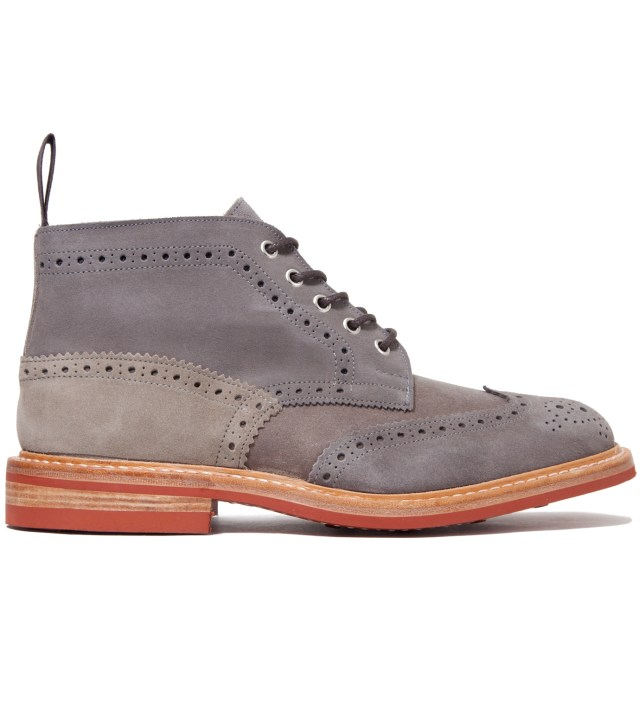 Cash Ca x Tricker's Grey Full Brogue Derby Boots