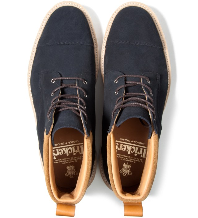 Cash Ca x Tricker's Navy & Tan Capped Toe Derby Boots