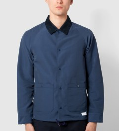 "Deluxe Deluxe for Hypebeast Navy ""Bench Rider"" Coach Jacket Model Picutre"