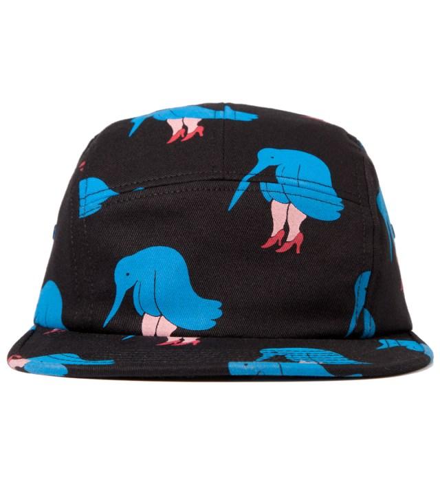 Black 5 Panel Camp Hat Sad Bird Cap