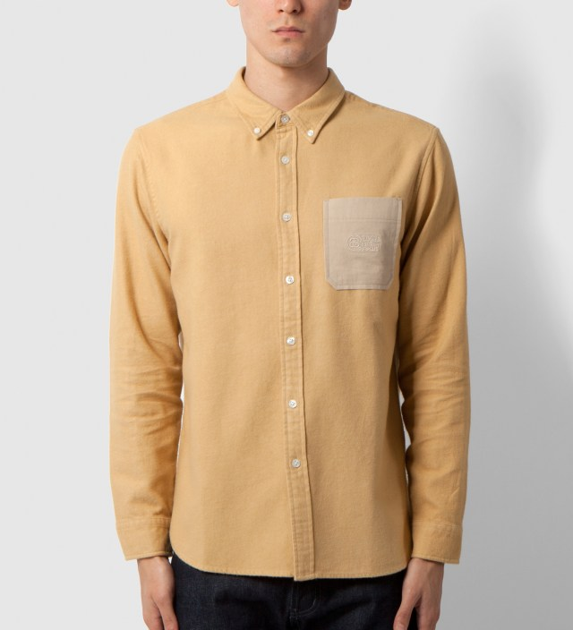 Khaki Solid Flannel Shirt