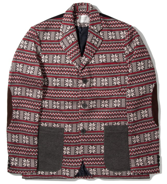 Grey/Red Winter 3 Button Contrast Knit Blazer