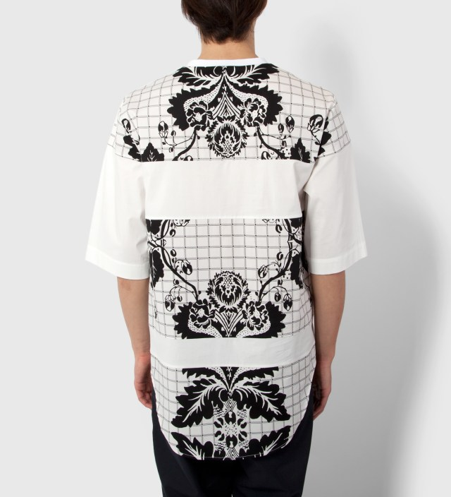 Antique White Loose Fit Crewneck T-Shirt Paneled Seams