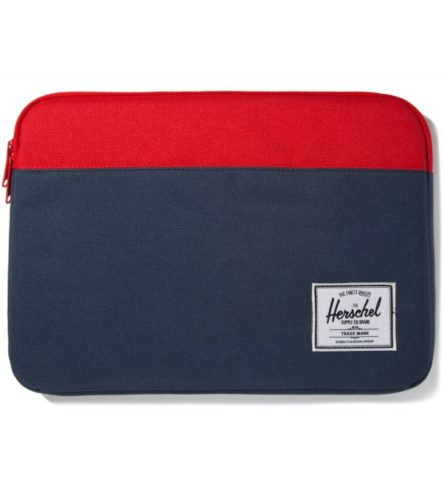 "Red/Navy Anchor Sleeve for 13"" Macbook Pro"