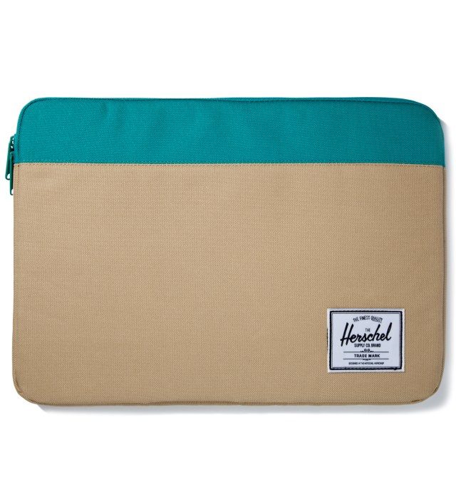 "Khaki/Teal Anchor Sleeve for 15"" Macbook Pro"