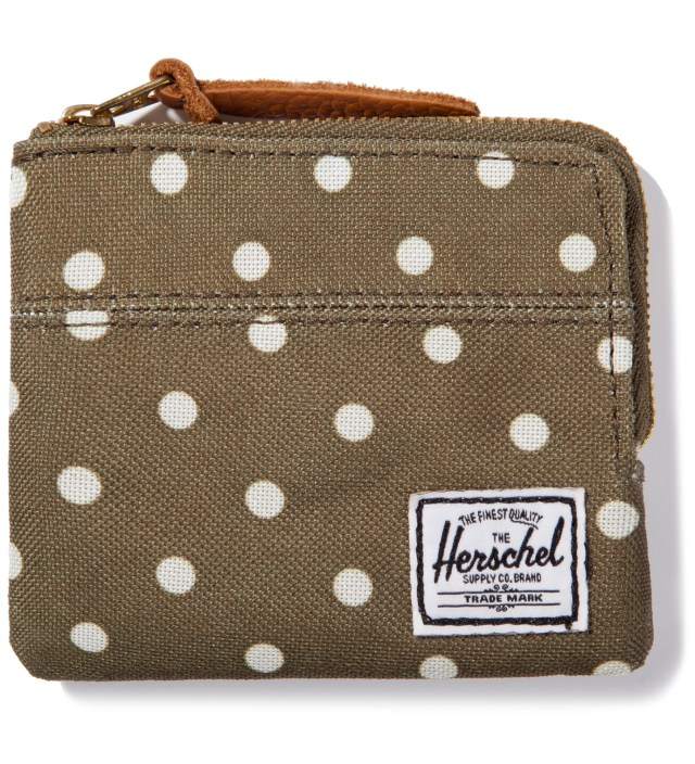 Olive Polka Dot Johnny Wallet
