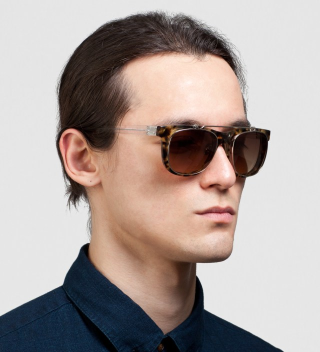 KRISVANASSCHE x Linda Farrow Brown Tortoiseshell With Flip Sunglass
