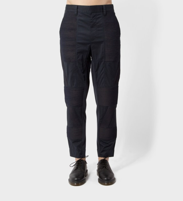 Black/Black Slim Fit Utility Pant with Trapunto Cording