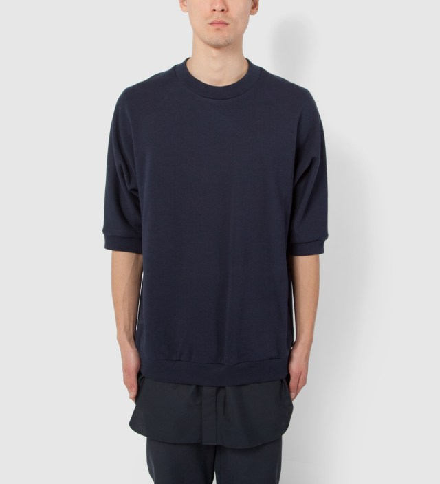Navy S/S Pullover with Poplin Shirt Tail