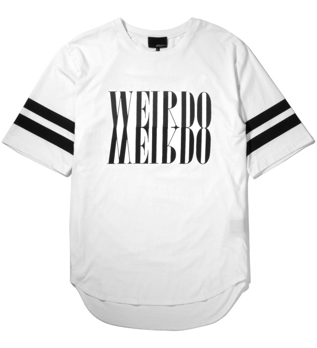 Antique White Crewneck with Mirrored Weirdo Print T-Shirt