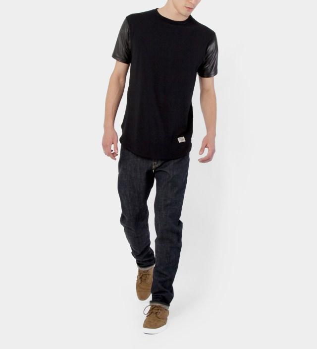 Black Mr. Hide Leather Sleeve T-Shirt