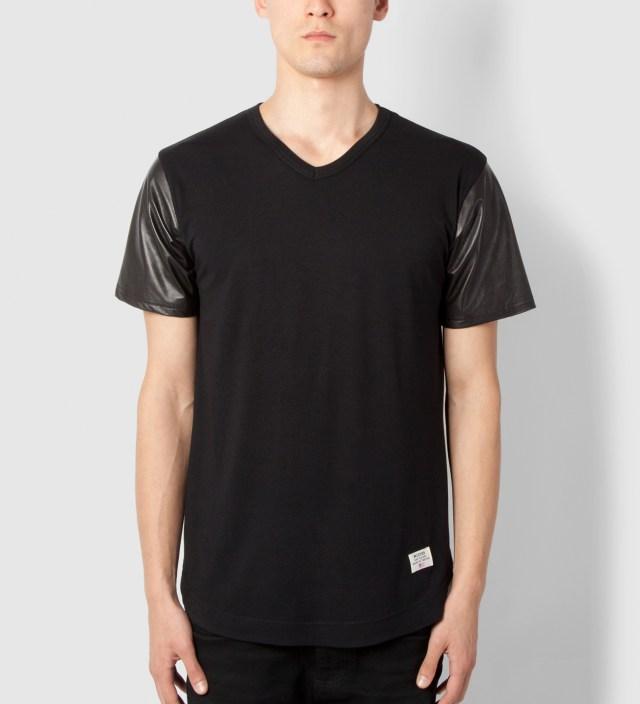 Black Mr. Hide Leather Sleeve V-Neck T-Shirt