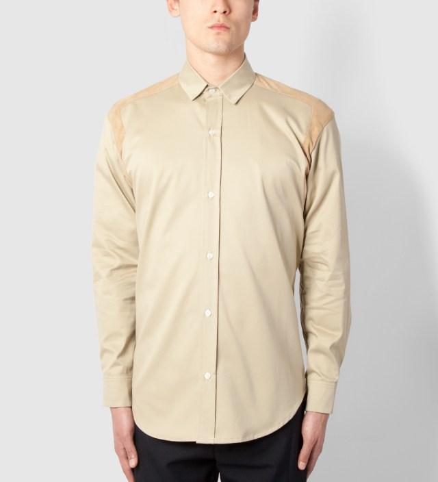 Stone/Suede Strap Shoulder Shirt