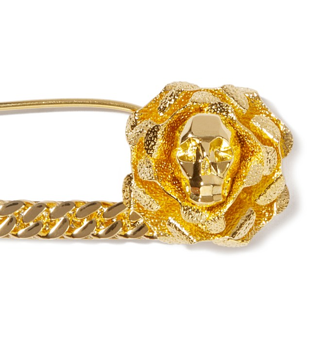 Gold Skull Safety Pin