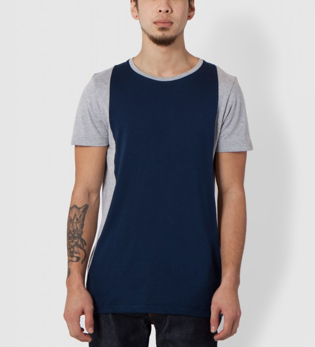 Grey Marble/Navy Panelled T-Shirt