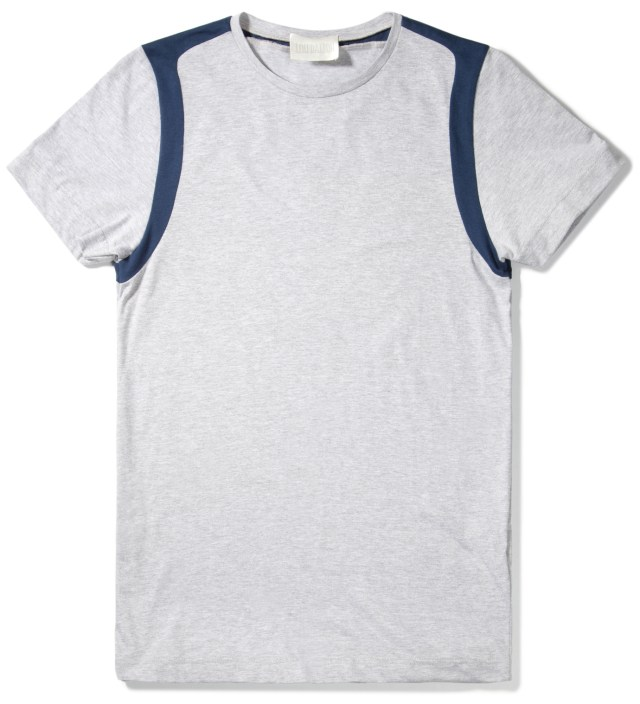 Navy/Grey Marble Strap Shoulder T-Shirt