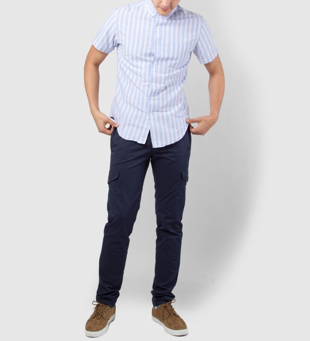 Periwinkle Stripe Oxford Short Sleeve Button Down Shirt